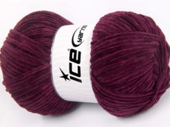 Lot of 4 x 100gr Skeins Ice Yarns CHENILLE BABY LIGHT (100% MicroFiber) Yarn Maroon