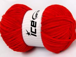 Lot of 4 x 100gr Skeins Ice Yarns CHENILLE BABY LIGHT (100% MicroFiber) Yarn Red