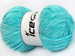 Lot of 4 x 100gr Skeins Ice Yarns CHENILLE BABY LIGHT (100% MicroFiber) Yarn Light Turquoise