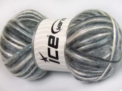 Lot of 4 x 100gr Skeins Ice Yarns UNIVERSE (19% Wool) Yarn Grey Shades White Black
