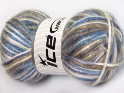 Lot of 4 x 100gr Skeins Ice Yarns UNIVERSE (19% Wool) Yarn Blue Shades Camel Black