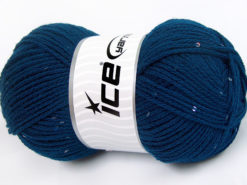 Lot of 4 x 100gr Skeins Ice Yarns CHAIN PAILLETTE (2% Paillette) Yarn Dark Blue