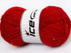 Lot of 4 x 100gr Skeins Ice Yarns CHAIN PAILLETTE (2% Paillette) Yarn Red