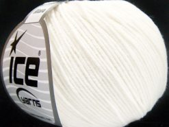 Lot of 8 Skeins Ice Yarns ALARA (50% Cotton) Hand Knitting Yarn White