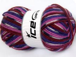 Lot of 4 x 100gr Skeins Ice Yarns JACQUARD (50% Wool) Yarn Purple Burgundy Fuchsia Black Light Pink