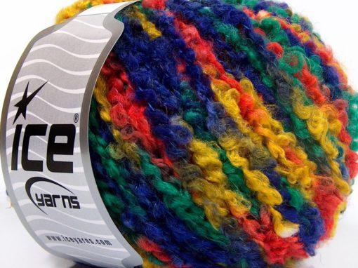 Lot of 8 Skeins Ice Yarns BOUCLE WOOL BULKY (35% Wool) Yarn Yellow Green Orange Navy