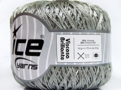 Lot of 6 Skeins Ice Yarns VISCOSA BRILLANTE (70% Viscose) Yarn Silver