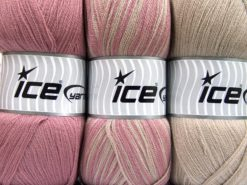Lot of 3 x 100gr Skeins Ice Yarns BABY OMBRE Yarn Light Camel Orchid