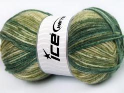 Lot of 4 x 100gr Skeins Ice Yarns JEANS WOOL (50% Wool) Yarn Green Shades