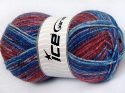 Lot of 4 x 100gr Skeins Ice Yarns JEANS WOOL (50% Wool) Yarn Blue Red Grey