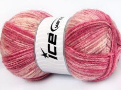 Lot of 4 x 100gr Skeins Ice Yarns JEANS WOOL (50% Wool) Yarn Pink Shades Cream