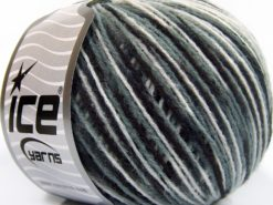 Lot of 8 Skeins Ice Yarns WOOL LIGHT (50% Wool) Yarn Black Grey White
