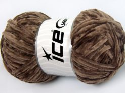 Lot of 4 x 100gr Skeins Ice Yarns CHENILLE LIGHT 100 (100% MicroFiber) Yarn Brown