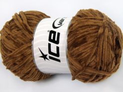 Lot of 4 x 100gr Skeins Ice Yarns CHENILLE LIGHT 100 (100% MicroFiber) Yarn Light Brown