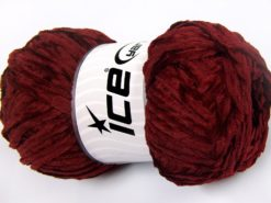 Lot of 4 x 100gr Skeins Ice Yarns CHENILLE LIGHT 100 (100% MicroFiber) Yarn Dark Burgundy