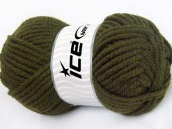 Lot of 4 x 100gr Skeins Ice Yarns ELITE WOOL SUPERBULKY (50% Wool) Yarn Khaki