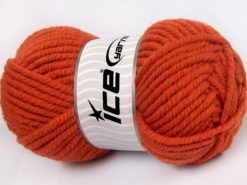 Lot of 4 x 100gr Skeins Ice Yarns ELITE WOOL SUPERBULKY (50% Wool) Yarn Dark Orange