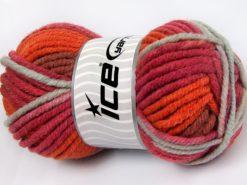 Lot of 4 x 100gr Skeins Ice Yarns ELITE WOOL SUPERBULKY (50% Wool) Yarn Orange Shades Red Light Grey