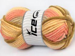 Lot of 4 x 100gr Skeins Ice Yarns ELITE WOOL SUPERBULKY (50% Wool) Yarn Light Yellow Beige Light Pink Light Brown