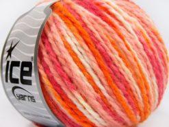 Lot of 8 Skeins Ice Yarns WOOL WORSTED COLOR (50% Wool) Yarn Orange Shades Pink Shades