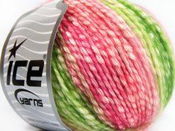 Lot of 8 Skeins Ice Yarns COTTON PASTEL (77% Cotton) Yarn Pink Shades Green Shades Cream