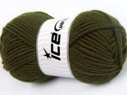 Lot of 4 x 100gr Skeins Ice Yarns WOOL CHUNKY (30% Wool) Yarn Dark Khaki