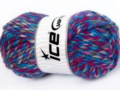 Lot of 2 x 200gr Skeins Ice Yarns SUPERWASH WOOL JUMBO (25% Superwash Wool) Yarn Blue Shades Fuchsia