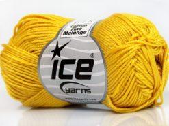 Lot of 6 Skeins Ice Yarns COTTON FINE MELANGE (100% Mercerized Cotton) Yarn Gold