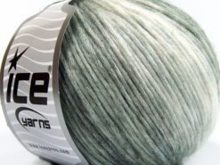 Lot of 8 Skeins Ice Yarns ROCK N ROLL (15% Wool 50% Modal) Yarn Green Shades White