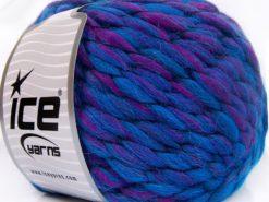 Lot of 2 x 150gr Skeins Ice Yarns ALPACA COLOR JUMBO (15% Alpaca 15% Wool) Yarn Blue Fuchsia