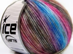 Lot of 8 Skeins Ice Yarns ROCK N ROLL (15% Wool 50% Modal) Yarn Brown Shades Fuchsia Blue Shades
