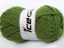 Lot of 4 x 100gr Skeins Ice Yarns MERINO CHUNKY (50% Merino Wool) Yarn Khaki