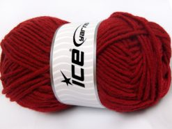 Lot of 4 x 100gr Skeins Ice Yarns MERINO CHUNKY (50% Merino Wool) Yarn Dark Red