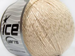 Lot of 4 x 100gr Skeins Ice Yarns SUMMER (70% Mercerized Cotton 30% Viscose) Yarn Light Beige
