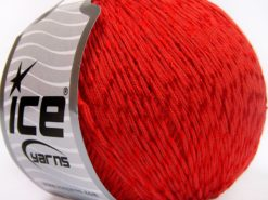 Lot of 4 x 100gr Skeins Ice Yarns SUMMER (70% Mercerized Cotton 30% Viscose) Yarn Red