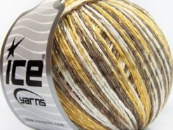 Lot of 4 x 100gr Skeins Ice Yarns SUMMER (70% Mercerized Cotton 30% Viscose) Yarn Camel Gold White