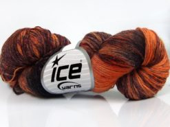 Lot of 4 x 100gr Skeins Ice Yarns HAND DYED SOCK YARN (75% SuperWash Wool) Yarn Orange Shades Brown