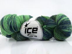 Lot of 4 x 100gr Skeins Ice Yarns HAND DYED SOCK YARN (75% SuperWash Wool) Yarn Green Shades