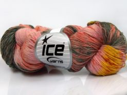 Lot of 4 x 100gr Skeins Ice Yarns HAND DYED SOCK YARN (75% SuperWash Wool) Yarn Salmon Shades Grey Shades Yellow