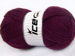Lot of 4 x 100gr Skeins Ice Yarns STAR GLITZ Hand Knitting Yarn Burgundy