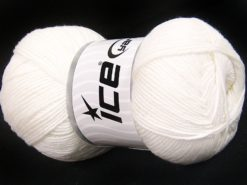 Lot of 4 x 100gr Skeins Ice Yarns LORENA (50% Cotton) Hand Knitting Yarn White
