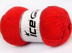 Lot of 4 x 100gr Skeins Ice Yarns LORENA (50% Cotton) Hand Knitting Yarn Red