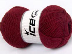Lot of 4 x 100gr Skeins Ice Yarns LORENA (50% Cotton) Yarn Burgundy