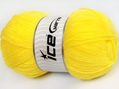 Lot of 4 x 100gr Skeins Ice Yarns KRISTAL Hand Knitting Yarn Neon Yellow