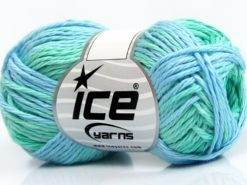 Lot of 8 Skeins Ice Yarns SKY COTTON (100% Cotton) Yarn Green Shades Blue Shades