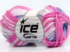 Lot of 8 Skeins Ice Yarns SKY COTTON (100% Cotton) Yarn Pink Shades Light Lilac White