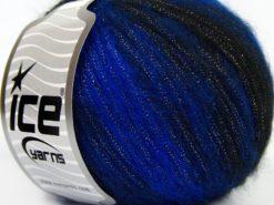 Lot of 8 Skeins Ice Yarns ROCK STAR METALLIC (25% Wool) Yarn Blue Black