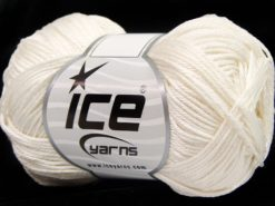 Lot of 6 Skeins Ice Yarns CAMILLA COTTON (100% Mercerized Cotton) Yarn Off White
