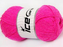 Lot of 4 x 100gr Skeins Ice Yarns LORENA (50% Cotton) Yarn Neon Pink
