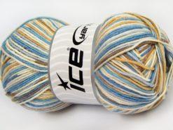 Lot of 4 x 100gr Skeins Ice Yarns LORENA COLOR (50% Cotton) Yarn Cream Camel Blue Shades